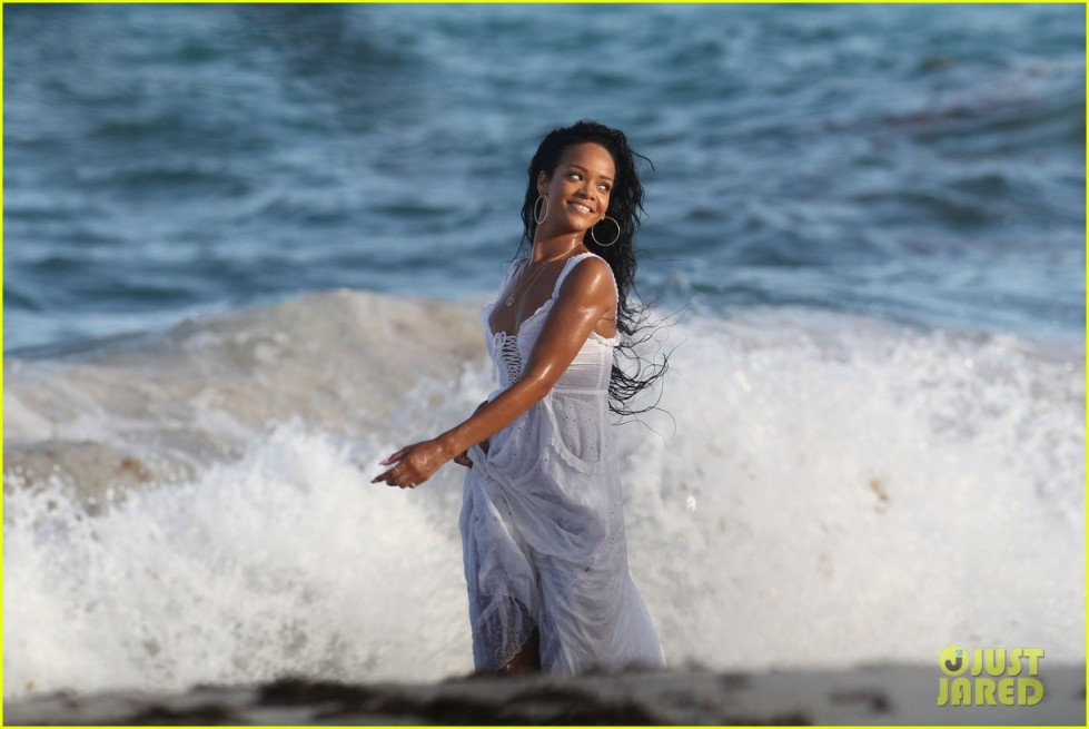 Rihanna shooting a tourism campaign for Barbados