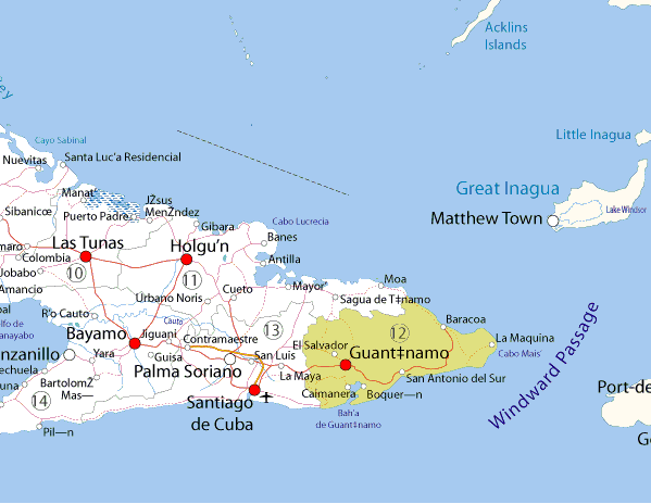 The Guantánamo Bay Naval Base The United States And CubaDealing - Cuba on map