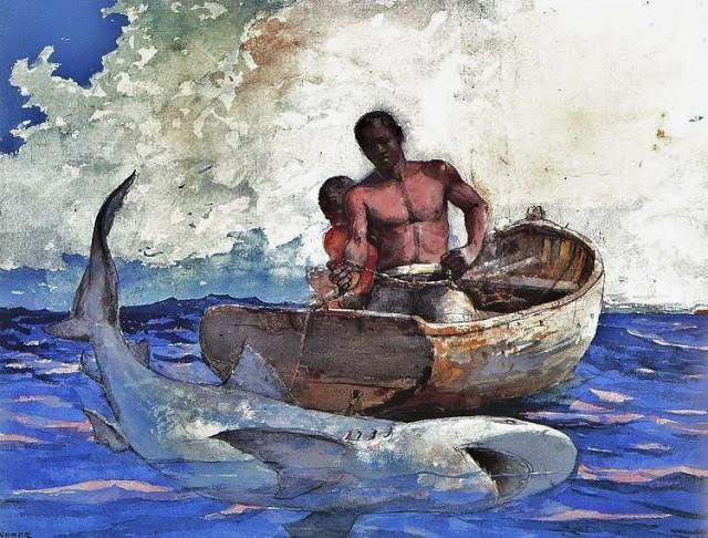 Winslow Homer (American artist, 1836-1910) Shark Fishing