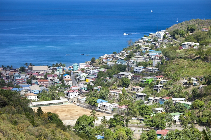 overhead view of castries st lucia and caribbean sea