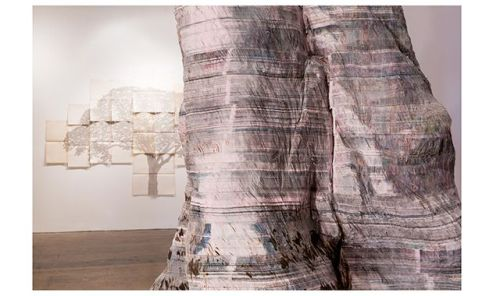 "Detail of Miler Lagos's ""The Great Tree,"" made of newsprint and steel, at SITE Santa Fe"