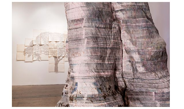 """Detail of Miler Lagos's """"The Great Tree,"""" made of newsprint and steel, at SITE Santa Fe"""