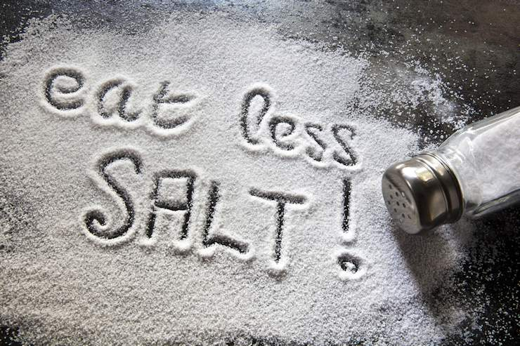 Message about excessive salt consumption, written in salt.