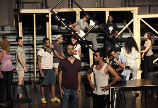 "Director Andy Senor Jr. takes part in a rehearsal for the musical ""rent"" in Havana"