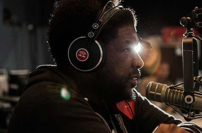 Questlove is interviewed in the Red Bull Music Academy pop-up radio station, at Red Bull Guest House in Miami, FL, USA on 28 March, 2015. // David Cabrera / Red Bull Content Pool // P-20150329-00434 // Usage for editorial use only // Please go to www.redbullcontentpool.com for further information. //