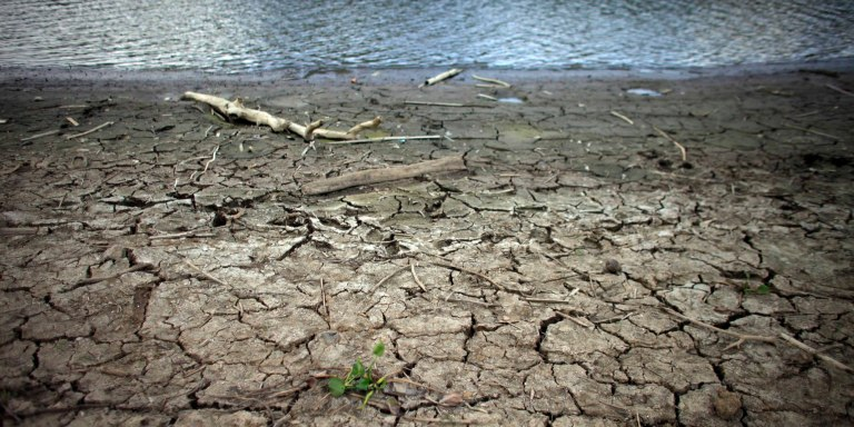 This June 15, 2015 photo shows mud cracks at the drought affected Carraizo reservoir in Trujillo Alto, Puerto Rico. Thanks to El Nino, a warming of the tropical Pacific Ocean that affects global weather, the worst drought in five years is creeping across the Caribbean, prompting officials around the region to brace for a bone dry summer. (AP Photo/Ricardo Arduengo)