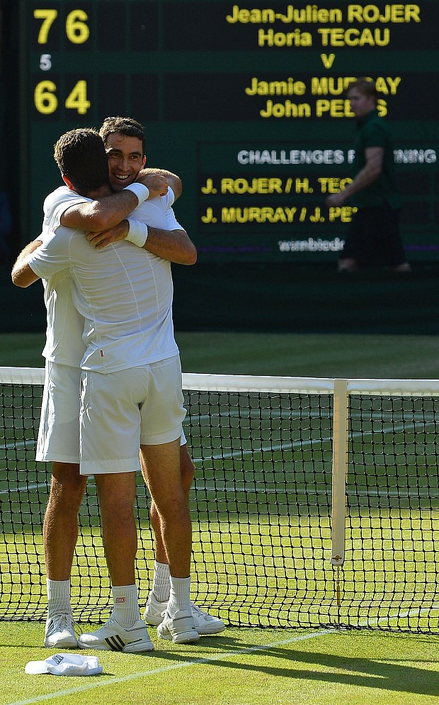 Netherlands' Jean-Julien Rojer (L) and R