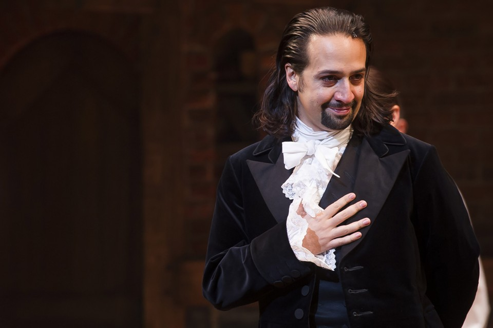 """Lin-Manuel Miranda appears at the curtain call following the opening night performance of """"Hamilton"""" at the Richard Rodgers Theatre on Thursday, Aug. 6, 2015, in New York. (Photo by Charles Sykes/Invision/AP)"""
