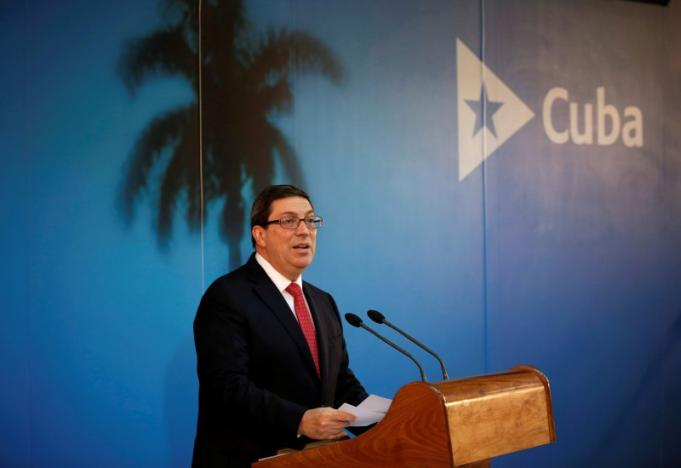 Cuba's Foreign Minister Bruno Rodriguez Parrilla speaks during a news conference in Havana