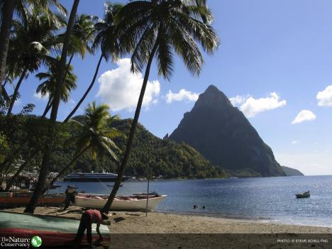 (ALL RIGHTS) On the southwestern shores of St Lucia, the town of Soufriere is a small sleepy fishing port with an emerging tourism industry. Petit Piton is an eroded volcanic dome that rises over 2,000 ft directly up from the coral reef beds and forms part of a UNESCO World Heritage Site. Photo credit: © Steve Schill/TNC