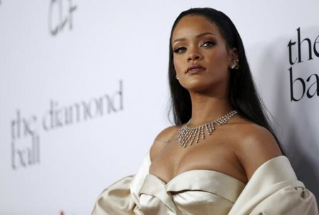 Singer Rihanna poses at the second annual Diamond Ball fundraising event in Santa Monica