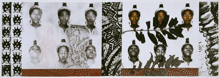 From Tarzan to Rambo: English Born 'Native' Considers her Relationship to the Constructed/Self Image and her Roots in Reconstruction 1987 by Sonia Boyce born 1962