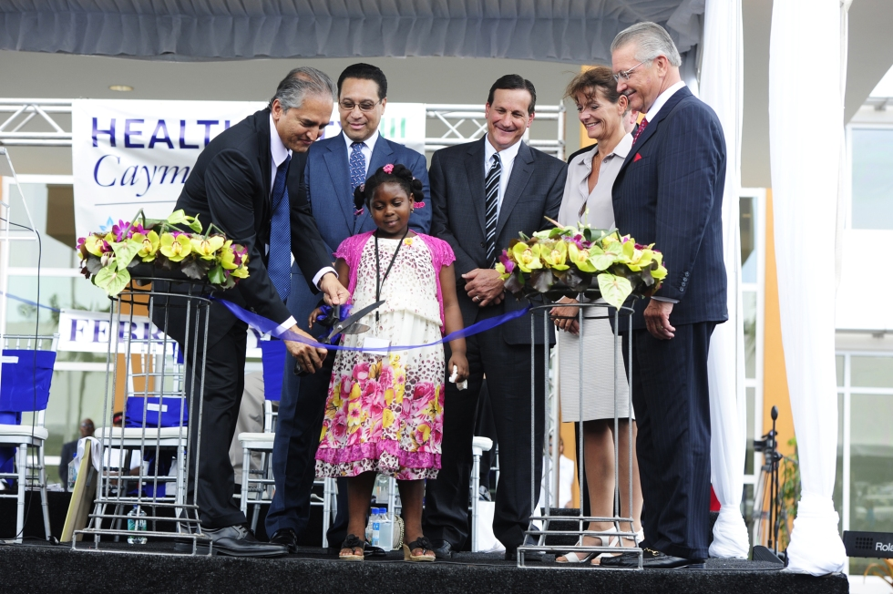 cutting_of_the_ribbon_dr_shetty_tony_tersigni_gene_thompson_at__health_city_cayman_islands_grand_opening