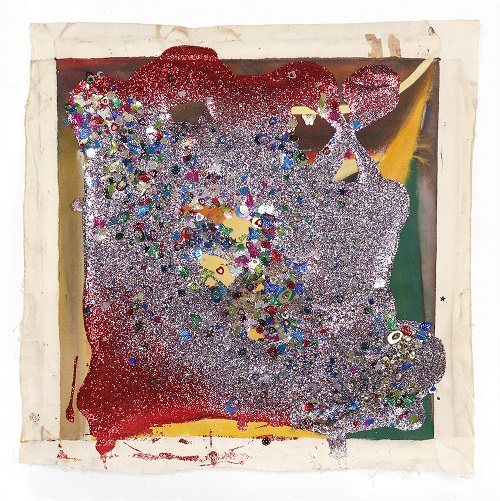 Victor Davson_Jandi Flag #5_2017_Glitter_Sequins_Acrylic_on Canvas_28.25 x 27.75 in_0
