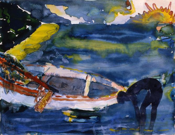 56-247275-bearden-martinique-morning-1987-watercolor-and-collage-on-paper-13-x-16.75-inches.jpg