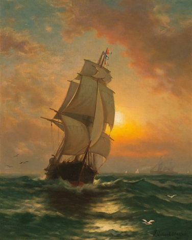 edward-moran-full-sail-at-sunset